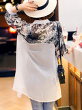 ByChicStyle Casual Band Collar Single Breasted Hollow Out Printed Kimono