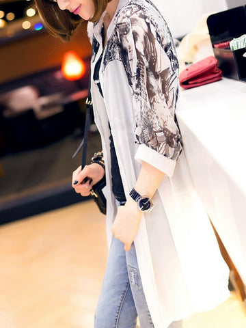 Casual Band Collar Single Breasted Hollow Out Printed Kimono