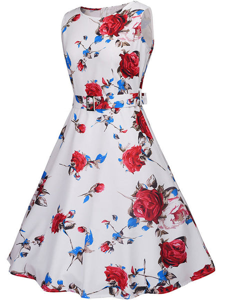 Casual Round Neck Belt Floral Printed Extraordinary Skater Dress