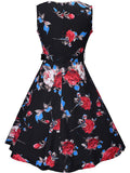 ByChicStyle Casual Round Neck Belt Floral Printed Extraordinary Skater Dress