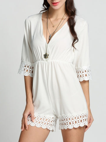 Casual Deep V-Neck Patchwork Hollow Out Plain Straight Romper