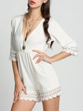 ByChicStyle Casual Deep V-Neck Patchwork Hollow Out Plain Straight Romper