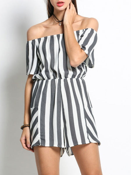 Off Shoulder Elastic Waist Striped Modern Bootcut Romper - Bychicstyle.com