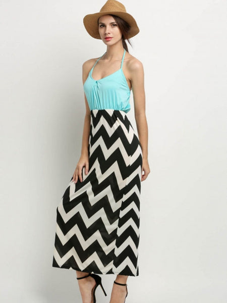 Halter Zigzag Striped Fascinating Maxi Dress - Bychicstyle.com