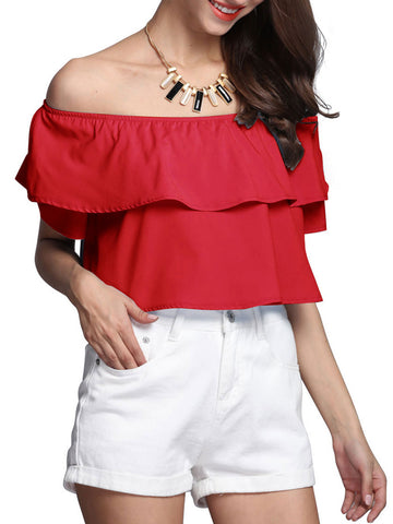 Casual Attractive Off Shoulder Flounce Plain Cropped Short Sleeve T-Shirt
