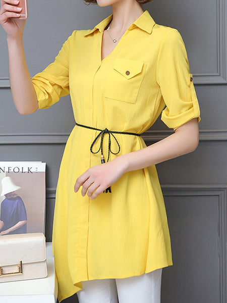 Casual Asymmetric Hem Flap Pocket Plain Roll-Up Sleeve Blouse