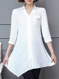 ByChicStyle Casual Asymmetric Hem Flap Pocket Plain Roll-Up Sleeve Blouse