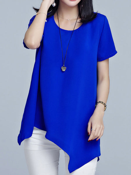 Casual Round Neck Asymmetric Hem Plain Blouse