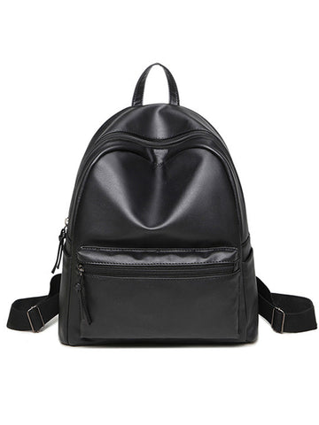 Casual Basic Pu Big Capacity Backpack