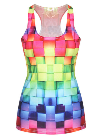 Colorful Round Neck Racerback Printed Sleeveless T-Shirt - Bychicstyle.com