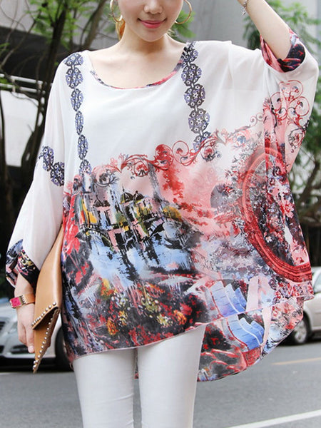 See-Through Printed Round Neck Batwing Sleeve Tunic - Bychicstyle.com