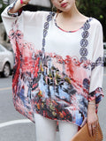ByChicStyle See-Through Printed Round Neck Batwing Sleeve Tunic - Bychicstyle.com