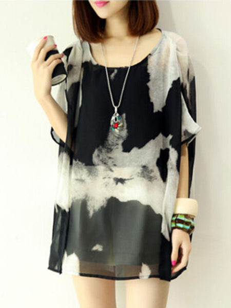 Casual Round Neck Abstract Print Hollow Out Batwing Sleeve Tunic