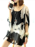 ByChicStyle Casual Round Neck Abstract Print Hollow Out Batwing Sleeve Tunic