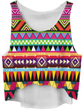 ByChicStyle Colorful Geometric Round Neck Cropped Sleeveless T-Shirt - Bychicstyle.com