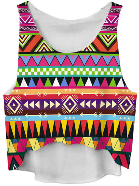 Colorful Geometric Round Neck Cropped Sleeveless T-Shirt - Bychicstyle.com