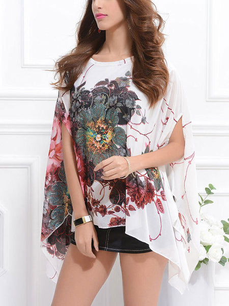 Streetstyle  Casual Asymmetric Hem Floral Printed Chiffon Tunic