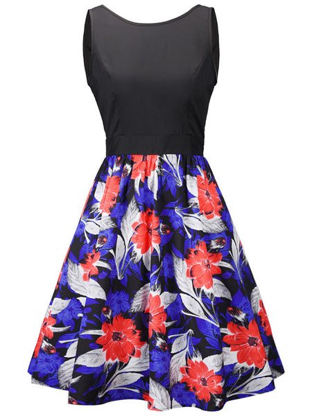 Delightful Round Neck Floral Printed Skater Dress - Bychicstyle.com
