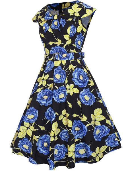 Fabulous Lapel Belt Floral Printed Skater Dress - Bychicstyle.com