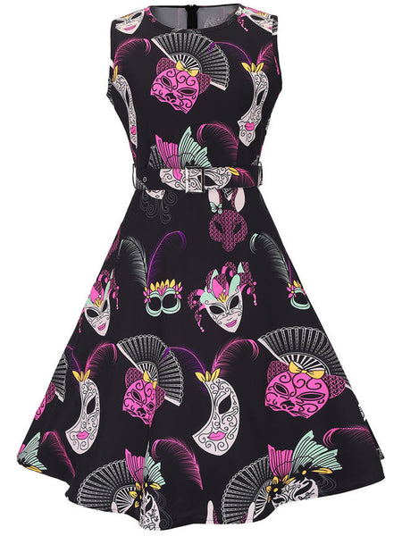 Casual Round Neck Belt Dramatic Mask Printed Skater Dress