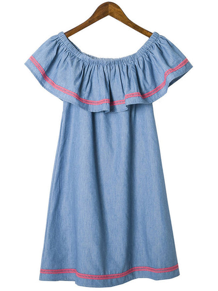 Off Shoulder Flounce Denim Shift Dress - Bychicstyle.com