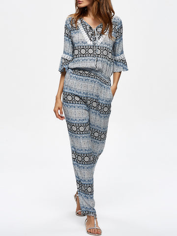 Casual V-Neck  Printed  Slim-Leg Jumpsuit With Bell Sleeve