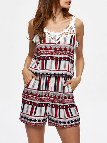 Slit Pocket Hollow Out Printed Romper - Bychicstyle.com