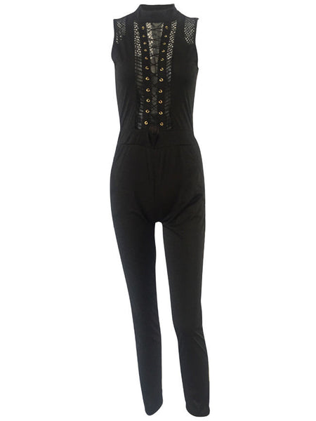 Casual Band Collar Lace-Up See-Through Super Slim-Leg Jumpsuit