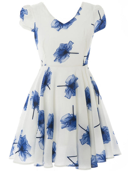 Casual V-Neck Printed Puff Sleeve Skater Dress