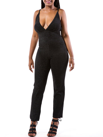 Spaghetti Strap Sexy Backless Plain Slim-Leg Jumpsuit - Bychicstyle.com