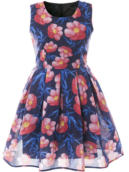 Sleeveless Round Neck Floral Printed Skater Dress - Bychicstyle.com