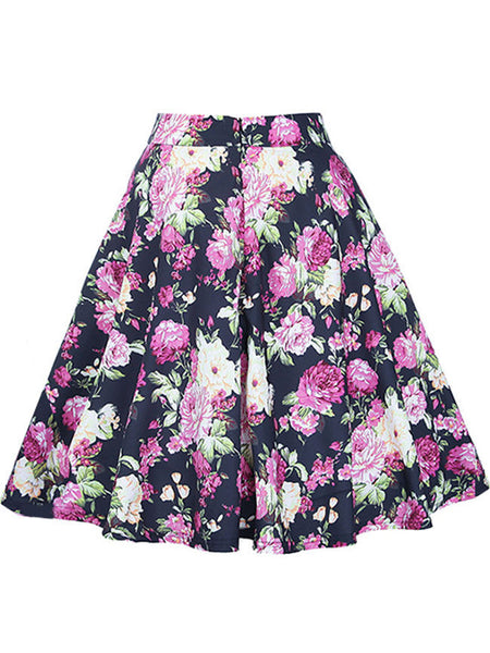 Delightful Floral Printed Flared Midi Skirt - Bychicstyle.com