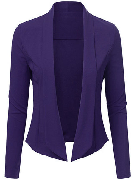 Narrow Notch Lapel Asymmetric Hem Plain Blazer - Bychicstyle.com