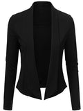 ByChicStyle Narrow Notch Lapel Asymmetric Hem Plain Blazer - Bychicstyle.com