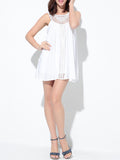 ByChicStyle Round Neck Patchwork Hollow Out Plain Mini Shift Dress - Bychicstyle.com