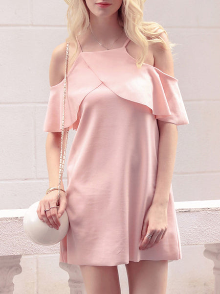 Open Shoulder Flounce Plain Exquisite Shift Dress - Bychicstyle.com