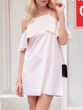 ByChicStyle Open Shoulder Flounce Plain Exquisite Shift Dress - Bychicstyle.com