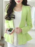 ByChicStyle Peplum Collarless Solid Long Sleeve Blazer - Bychicstyle.com