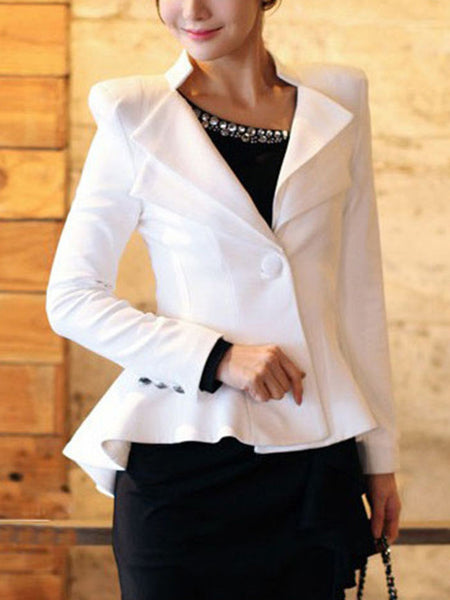 Lapel High-Low Single Button Plain Blazer - Bychicstyle.com