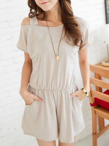 Casual Basic Open Shoulder Slit Pocket Plain Romper