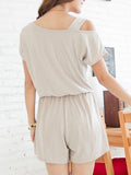 ByChicStyle Casual Basic Open Shoulder Slit Pocket Plain Romper