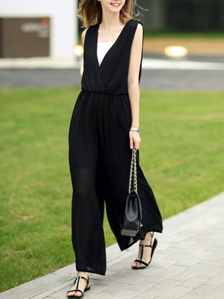 Casual Deep V-Neck Elastic Waist Hollow Out Plain Chiffon Wide-Leg Jumpsuit
