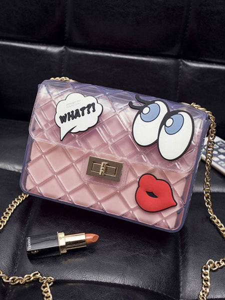Sheer Fabric Cartoon Eyes Chain Crossbody Bag - Bychicstyle.com