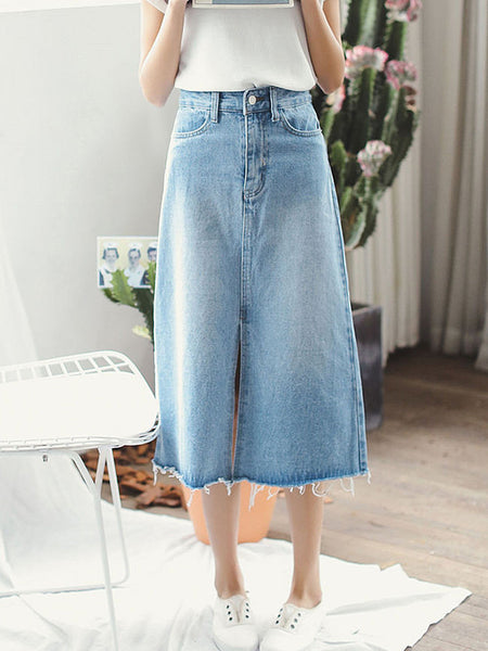 Blue Denim Bleached A-Line Maxi Skirt - Bychicstyle.com