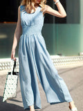 ByChicStyle Casual Round Neck Elastic Waist Pocket Plain Wide-Leg Jumpsuit