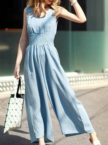 Casual Round Neck Elastic Waist Pocket Plain Wide-Leg Jumpsuit