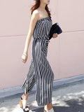 ByChicStyle Strapless Vertical Striped Wide-Leg Jumpsuit - Bychicstyle.com