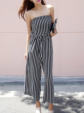 Strapless Vertical Striped Wide-Leg Jumpsuit - Bychicstyle.com