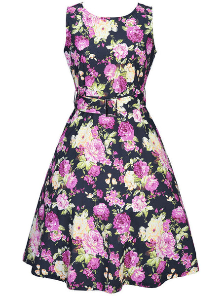 Casual Round Neck Belt Floral Printed Sleeveless Skater Dress