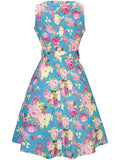 ByChicStyle Casual Round Neck Belt Floral Printed Sleeveless Skater Dress